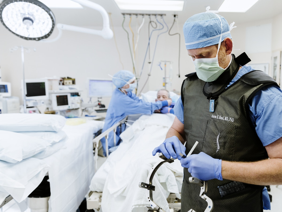 Doctor Bond preparing for brain surgery