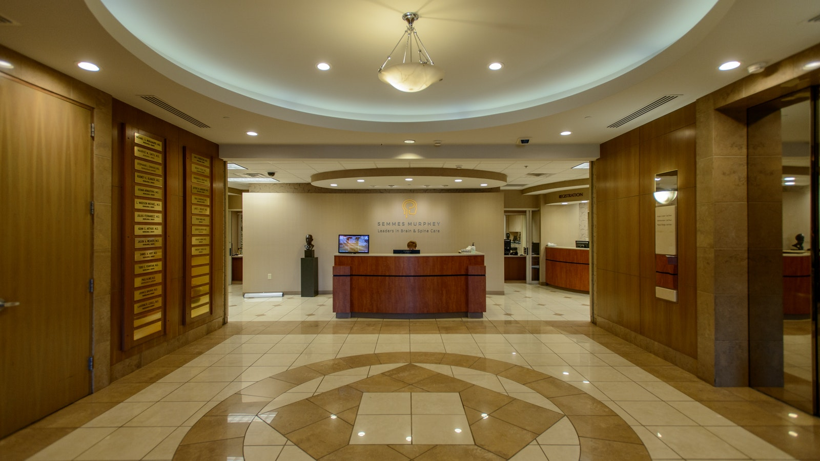 Lobby entrance of Semmes Murphey clinic, with a reception desk