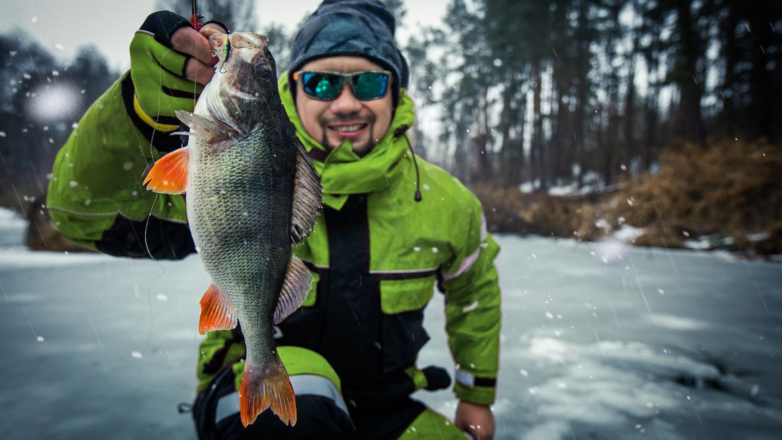Man fishing winter square