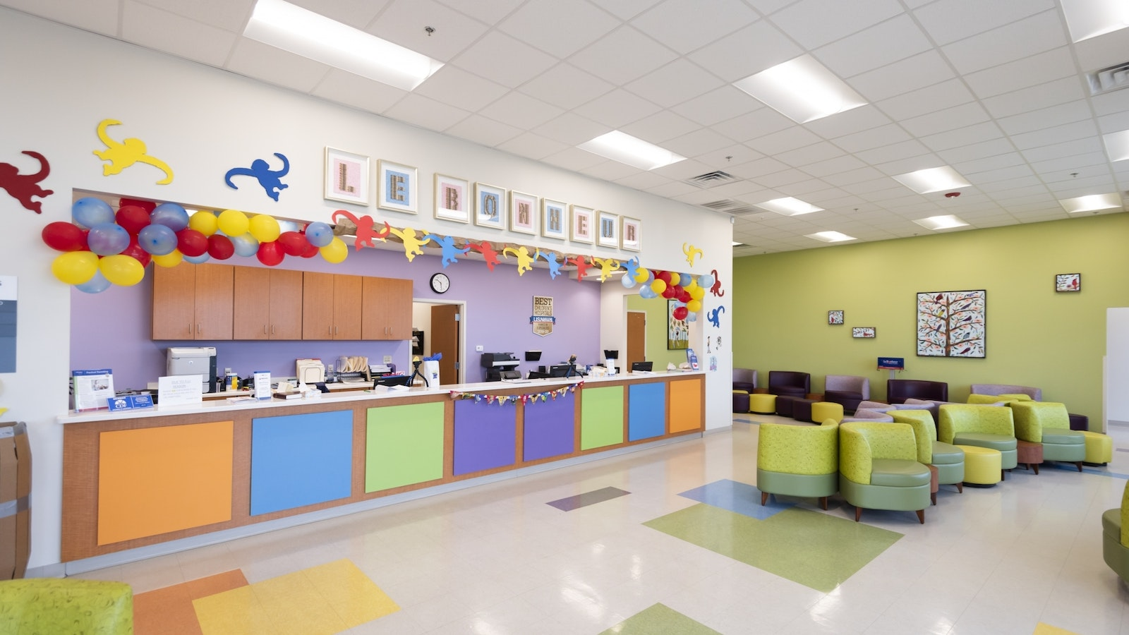 Colorful, kid-friendly waiting room inside Le Bonheur/Semmes Murphey Tupelo